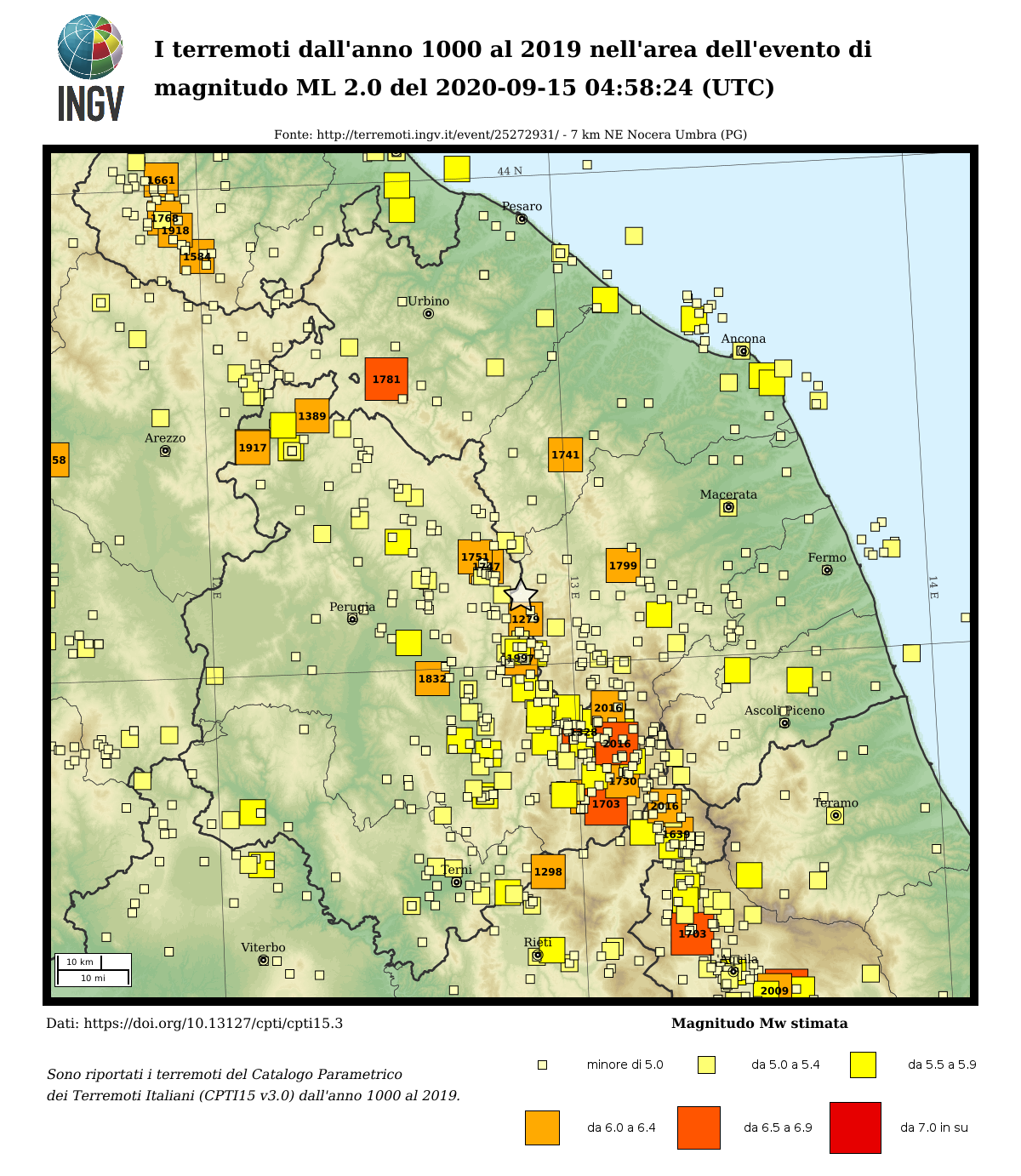 Earthquakes since 1000 AD until 2014